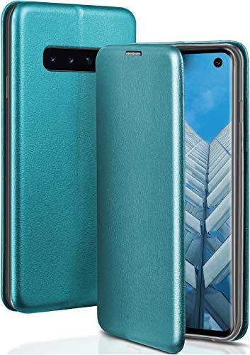 ONEFLOW Handyhülle kompatibel mit Samsung Galaxy S10 - Hülle klappbar, Handytasche mit Kartenfach, Flip Hülle Call Funktion, Klapphülle in Leder Optik, Blau