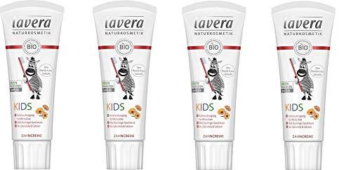 Lavera Zahncreme KIDs, mild-fruchtiger Geschmack mit Bio-Calendula & Calcium, 4 x 75ml