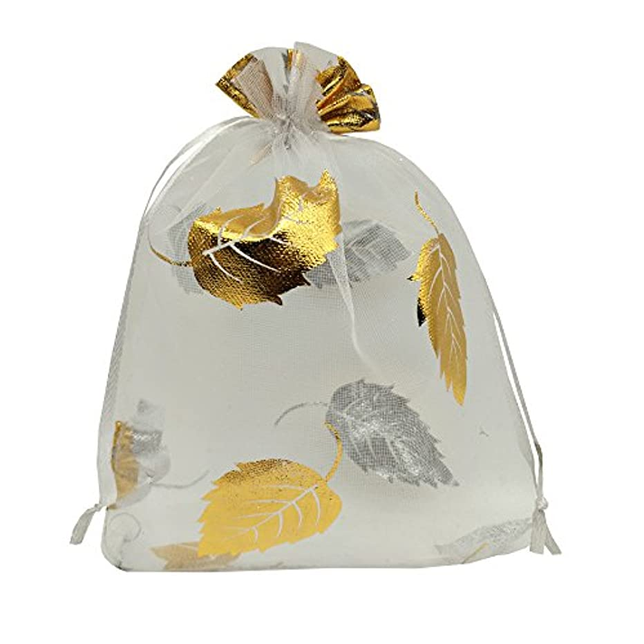 Ankirol 100pcs Sheer Organza Favor Bags 5x7'' for Wedding Baby Shower Gift Bags Samples Display Drawstring Pouches (White-Gold Leaf)