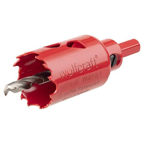 Wolfcraft 5466000 (L) sierras de corona BiM, completo con adaptador y broca piloto, profundidad de corte 40 mm PACK 1, diámetro 32 mm, rojo
