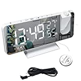 QOTSTEOS Alarm Clock Digital Projection with FM Radio | Temperature & Humidity LED Screen | Clear Projection Radio Clock Digital for Bedroom Kitchen Office(White with White Words)