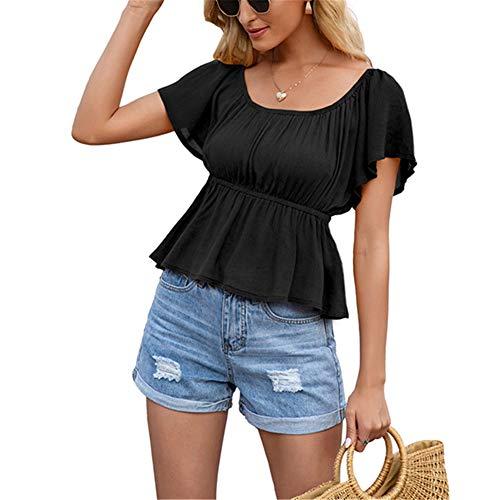 ZFQQ Camiseta de Manga Corta con Cuello en la Cintura para Mujer de Verano