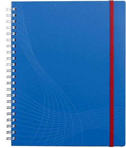 AVERY Zweckform 7037 Notizbuch notizio (A4, Kunststoff-Cover, Doppelspirale, kariert, 90 g/m², 90 Seiten mikroperforiert, Notizblock mit Verschlussband, Registern und Dokumententasche) blau