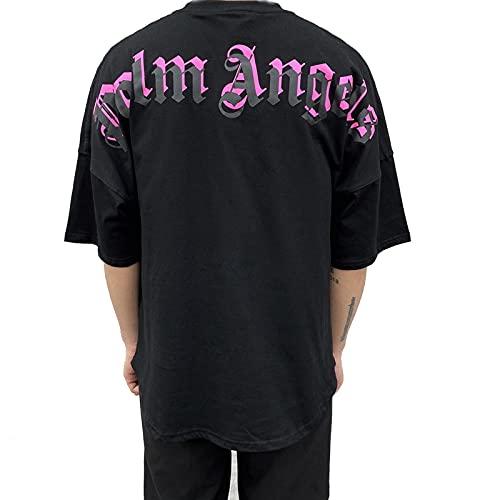 Maglietta da uomo e da donna Palm Angel a maniche corte, casual, con scollo rotondo, in cotone (Men Pink, M)