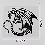 A/X 17.3CMX14.7CM Winged Dragon Fantasy Tribal Car Sticker Vinyl Black/Silver 13C-0112 Black