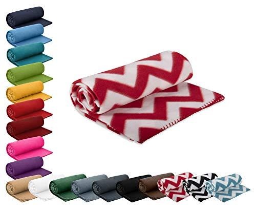 Polar- Fleecedecke 130x160 cm ca. 400g wertiges Gewicht mit Anti-Pilling Kettelrand Farbe Zickzack Muster rot weiß in vielen bunten Farben