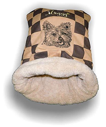 LunaChild Handmade Hunde Kuschelhöhle Schlafsack Kuschelsack Hundebett West Highland Terrier 2 Name Wunschname Größe S M L oder XL viele Farben personalisiert Geschenk