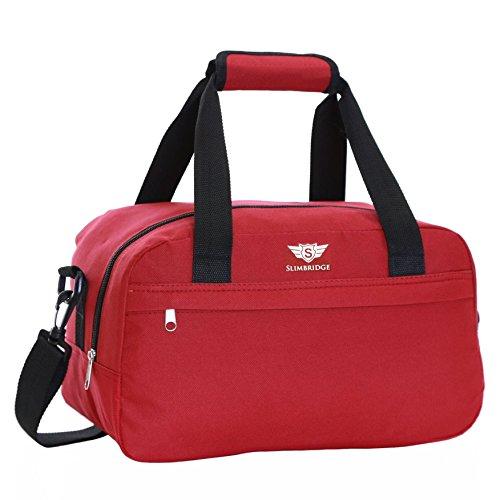 Slimbridge Ryanair Leichter Faltbare Weekender Handgepäck Reisetasche Umhängetasche - 35 cm 24 Liter 250 Gramm, Mora Rot