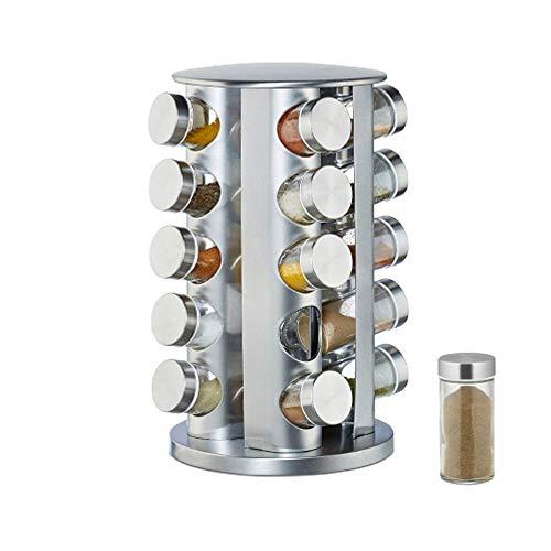 NATURAL LOGISTICS Especiero Cocina Giratorio Acero Inoxidable (20 Botes). Organizador Cocina con Botes Especias Incluidos. Estantería Metálica para Accesorios, Botes de Cocina. Kottao