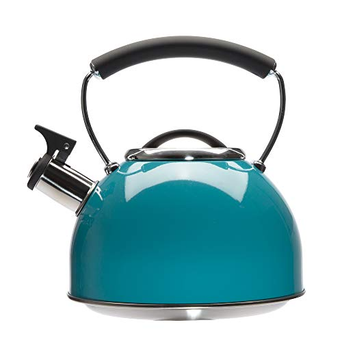 Primula Chelsea Whistling Stovetop Tea Kettle Food Grade Stainless Steel Hot Water Fast to Boil Cool Touch Handle 23 Quart Turquoise