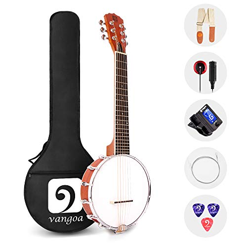 Vangoa 6 Saiten Banjo Gitarre Mini 26 Zoll Sapele Reise Banjo Gitarre für Anfänger mit Tasche, Tonabnehmer, Gurt, Plektren