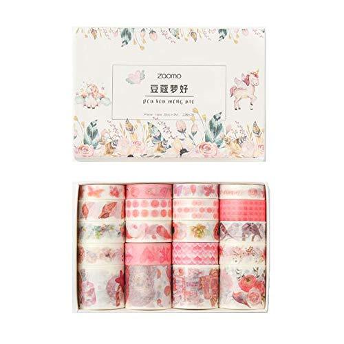 VOANZO - Set di 20 rotoli di nastro adesivo Washi rosa a forma di lumache, farfalla, uccello, fiore, washi per bullet journal, agenda, confezione regalo, decorazione natalizia