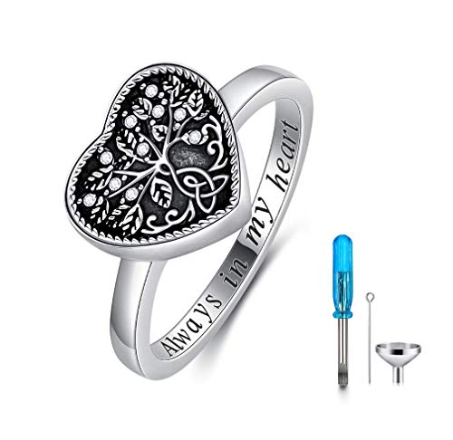 AOBOCO 925 Sterling Silver Heart Tree of Life Celtic Knot Cremation Urn Ring Holds Loved Ones Ashes, Always in My Heart Urn Ring for Ashes for Women, Memorial Keepsake Jewelry with Swarovski Crystal
