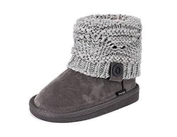 MUK LUKS girls Muk LuksGirl s Patti Boots- Grey Fashion Boot Grey 12 Little Kid US