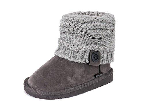 MUK LUKS girls Muk LuksGirl's Patti Boots- Grey Fashion Boot, Grey, 2 Big Kid US