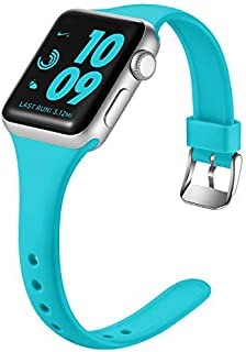 Laffav Slim Band Compatible with Apple Watch 40mm 38mm 44mm 42mm for Women Men, Soft Silicone Narrow Thin Sport Strap Comp...