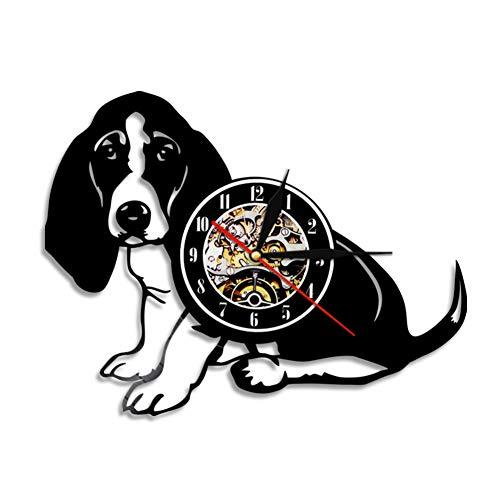 wwwff Basset Hound Wanduhr Hunderasse Stammbaum Hund Tier Haustier Welpe Vinyl Schallplattenuhr Dekorative Vintage Uhr Doggy Clock Geschenk
