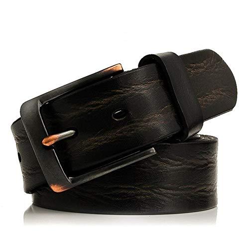 hgkl - Cinturón de piel para hombre de negocios de alta calidad, pulsera para hombre, ancho de ardillon vaqueros (longitud: 115 cm, color: negro)