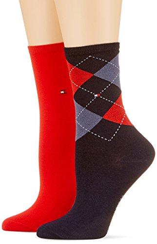Tommy Hilfiger Damen Socken, 2er Pack, Mehrfarbig (midnight blue 563/Rot), 39/42