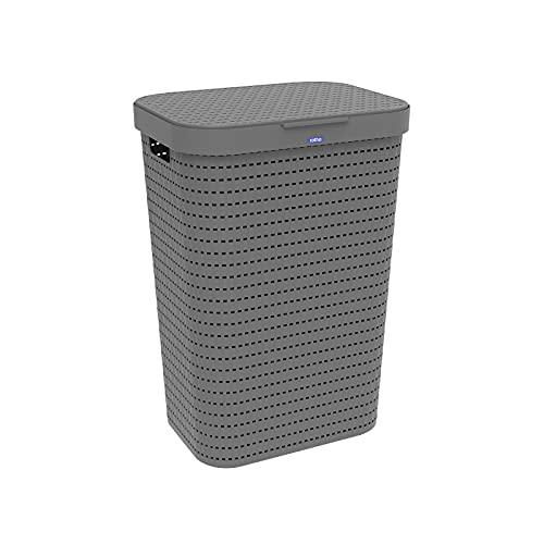 Rotho Country Cesta de lavandería de 55l con tapa en aspecto de ratán, Plástico (PP) sin BPA, antracita, 55l (42.0 x 32.2 x 57.7 cm)