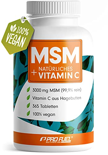 MSM 3000mg + natürliches Vitamin C - 365 MSM Tabletten mit Methylsulfonylmethan - Kompakteres MSM Pulver als bei Kapseln - Vegan & ohne Zusatzstoffe - Laborgeprüft