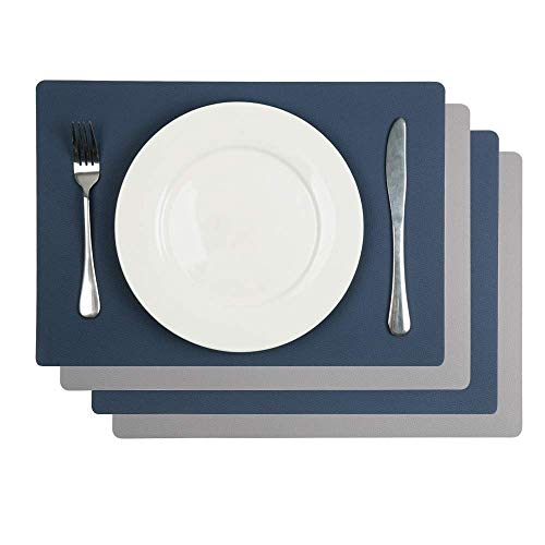 AMAZING1 4Pcs Faux Leather Placemats PU Waterproof Reversible Place Mat Heat Resistant Non-Slip Washable for Kitchen Dining Table (Blue/Gray, Set of 4)
