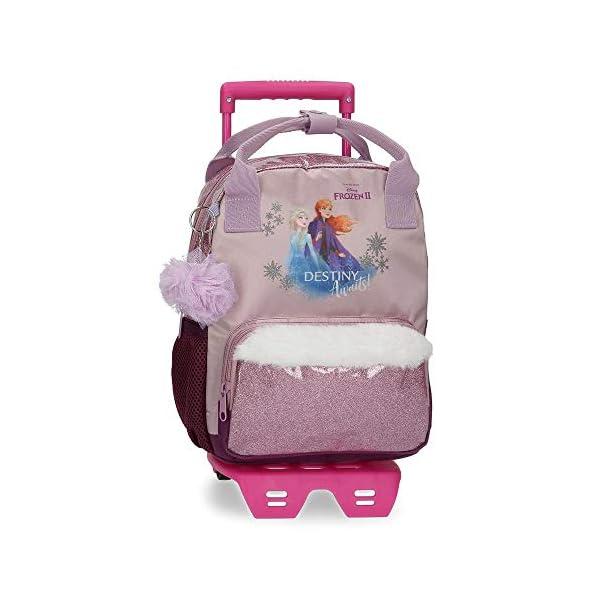 41eT0RA2OtL. SS600  - Mochila Frozen Destiny Awaits Preescolar 23 x 28 x 10 cm con Carro, Morado