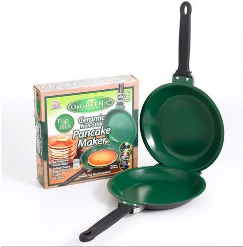 Double-sided Non-stick Pan, Nonstick Double Pan, Omelette Pan, Flip Pan, Make Chicken, Steak, Bacon, Omelets, or Making Pancakes - the Food Will Not Fall off No Matter How You Flip It (Green)