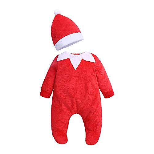 Voor 0-24 Maanden Baby, Meisjes Jongens Kerst Outfits Set, Pasgeboren Baby Lange Mouw Kerstman Fluffy Romper Jumpsuit+Hoed 2 STKS Winter Kleding Set
