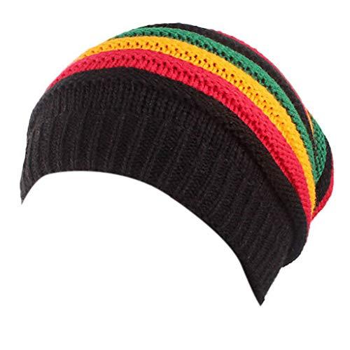 mdhsh - Gorro de punto, unisex, diseño de rayas, multicolor