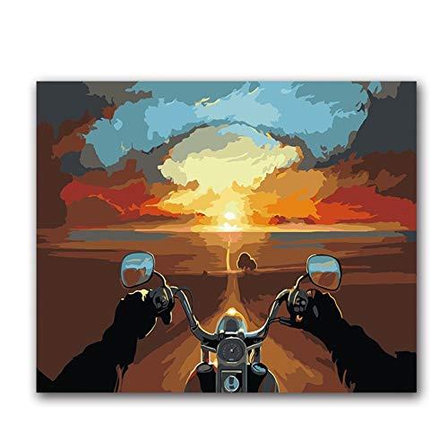Vanzelu Kleurplaten Schilderen Door Getallen Abstract Landschap Afstand Hemel Rijden Een Motorfiets Foto's Schilderijen Verf Door Getallen Met Kleur Geen Frame 40x50cm(16 * 20