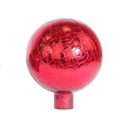 1PLUS Rosenkugeln Dekokugeln mit Unterschiedlichen Farben, Gartenkugeln für Den Garten als Schicke Gartendekoration - Deko Kugeln Glaskugeln (10 cm, Rot Kristall)