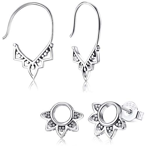 Milacolato 2 Pairs Sterling Silver Balinese Tribal Earrings Set for Women Boho Hoop Earring Filigree Circle Stud Earring with Gift Box