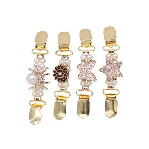 Fenical 4 pinzas para jerséis, con cristales y perlas, color dorado