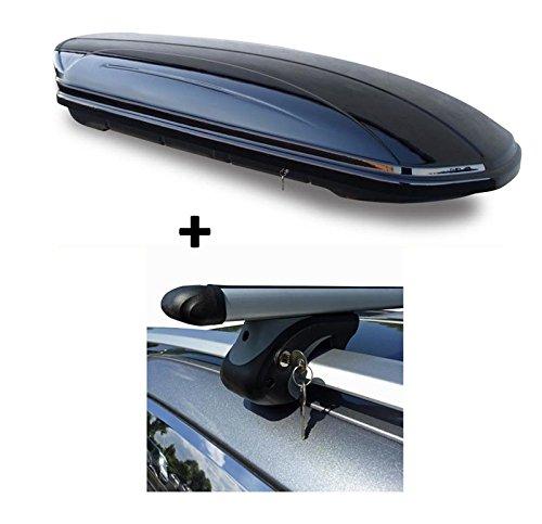 Skibox Dachbox schwarz VDP-MAA460G großer Dachkoffer für Ski 460 Liter abschließbar + Alu-Relingträger Dachgepäckträger Renault Megane Grand Tour KM 03-08