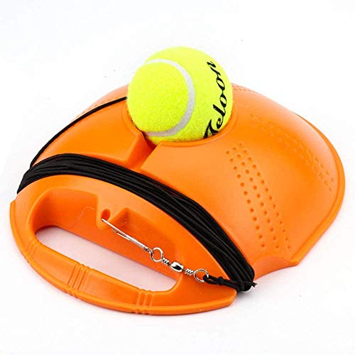 Single tennis coach, basic coach for training tennis met elastische rubber touwen, zichzelf trainen tennis leunen coach, duurzaam, slee, oranje