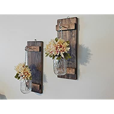 Set of 2 Hanging Mason Jar Sconces