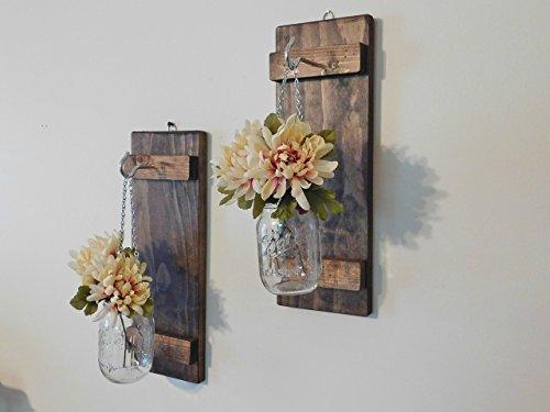 Set of 2 Hanging Mason Jar Sconces