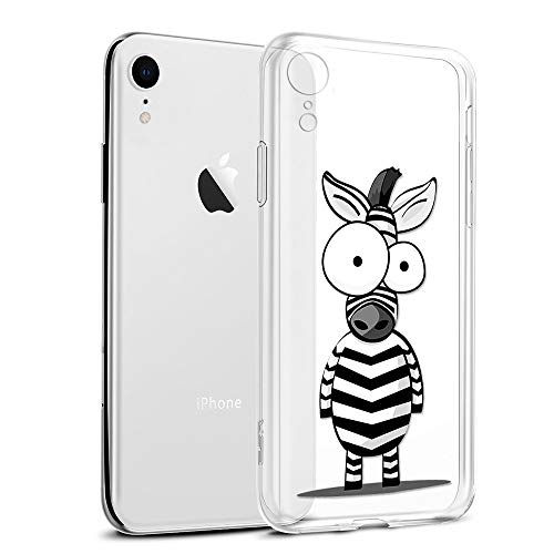 Funda iPhone XR, Eouine Cárcasa Silicona 3D Transparente con Dibujos Diseño Suave Gel TPU [Antigolpes] de Protector Bumper Case Cover Fundas para Movil Apple iPhone XR 2018-6,1 Pulgadas (Cebra)