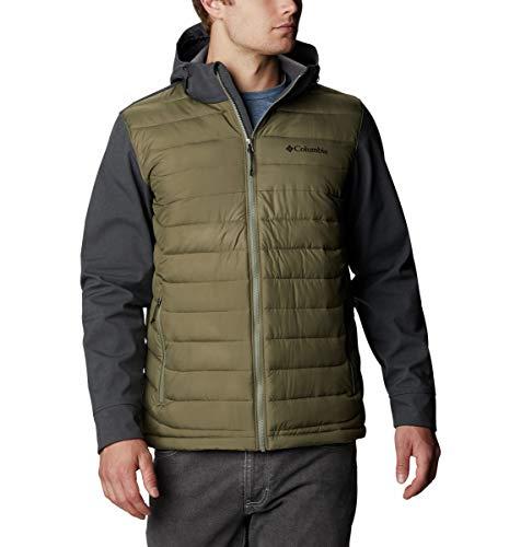Columbia Powder Lite - Chaqueta de invierno híbrida con capucha para hombre, repelente al agua