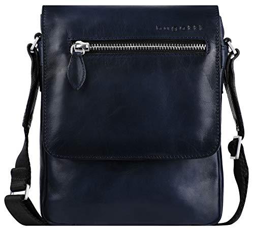 Bugatti Domus Kleine Leder Umhängetasche für Damen und Herren, Schultertasche Messenger Bag Kuriertasche, Blau