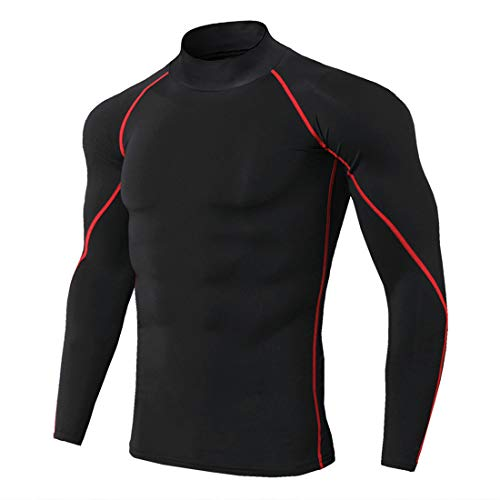 Mens Compression Top Base Layer Long Sleeve Crew Neck Tight Fit Comfy Gym Long Sleeve Running Thermal Sweatshirt Functional Comfortable Breathable top S