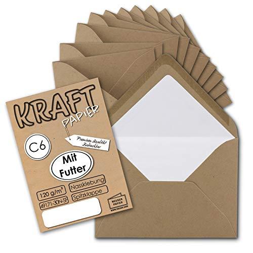 75x Kraft-Papier Brief-Umschläge sandbraun gefüttert - DIN C6 - weißes Seidenfutter - Nassklebung ohne Fenster - 114 x 162 mm - Recycling Umschläge - Serie UmWelt