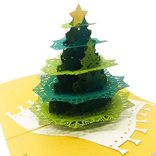 Star Christmas Tree Pop Up Card - Holiday Pine Tree, Star Topper, Navidad Scene - Message Page for Personalized Greeting - Funny, Amazing, Happy Holiday Gifts - Blank Inside, Thick Envelope