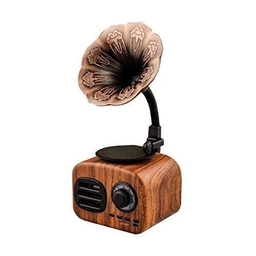 ALIZJJ Altavoz Retro Vintage Gramophone Bluetooth Tocadiscos Turnable Radio estéreo de Sonido Caja Mini Altavoz inalámbrico Color Nogal (Color : Brown)
