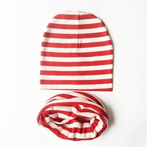 Invierno Primavera bebé Sombrero Conjunto de Bufanda algodón bebé niño niña Sombrero Gorra con Estampado de Estrellas niños Sombreros recién Nacidos Gorro Beanie niños Gorras-Stripe Red
