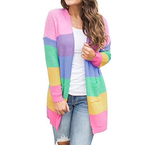 Buy Discount NANTE Top Loose Women's Blouse Knitted Patchwork Rainbow Stripe Print Cardigan Sweater ...