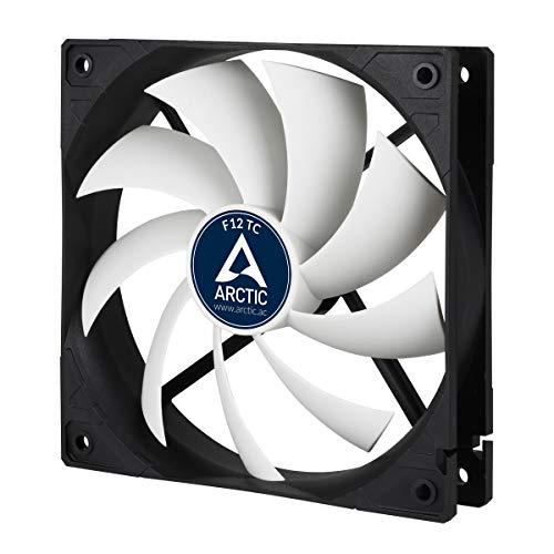 ARCTIC F12 TC - 120 mm skalfläkt med temperaturreglering, tyst motor, dator, fläkthastighet: 300-1350 RPM - Svart/Vit