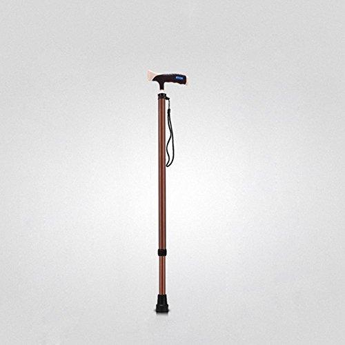 Lmzyan Aluminium en alliage à brosse rétractable, réglable Hauteur 73-96cm Anti-Skid Walking Sticks pour personnes âgées et handicapées , Coffee