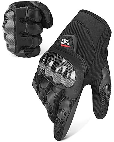 Motorradhandschuhe, 3-Fingerspitzen Touchscreen, Sommer Handschuhe mit Knöchelhülle, Atmungsaktive Fahradhandschuhe Ideal für Motorrad, Radfahren Camping, Outdoor- & Sportsaktivität